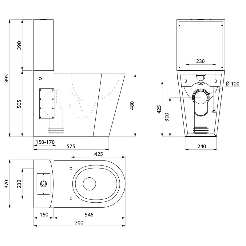 wc inox avec r servoir monobloco 700 pmr r f 110790 delabie. Black Bedroom Furniture Sets. Home Design Ideas